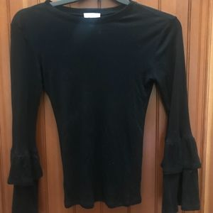 LONG SLEEVE BLACK FITTED SHIRT